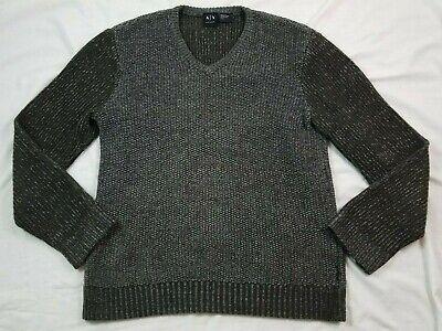 Armani Exchange AX Mens Sweater V Neck Medium Wool Blend Gray (Armani Exchange Sweater Men)