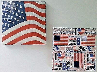 PATRIOTIC COCKTAIL BEVERAGE American Flag UsA PARTY LUNCHEON NAPKINS 20 Count (Cocktail Party Beverage Napkins)