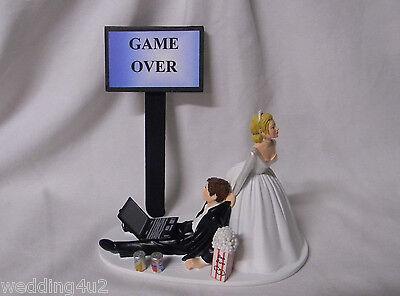 Wedding  Reception Party Laptop Computer Game Over Popcorn Soda Can Cake Topper - Wedding Reception Games