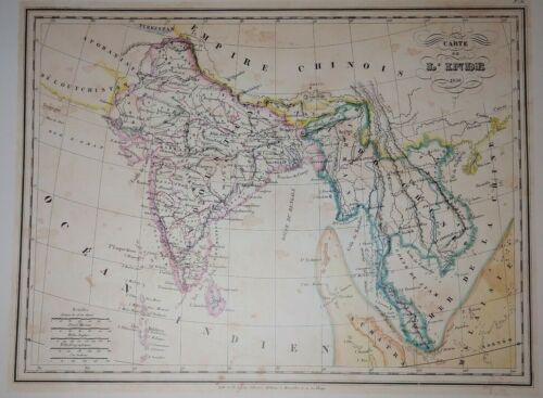 French Map of India 1836  Carte de L'Inde by TH. Lejeune Print