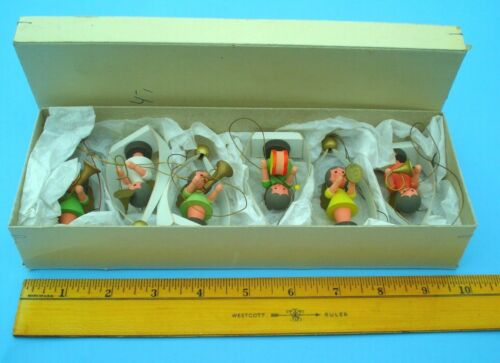 Vintage Dregeno from German Democratic Republic Set 6 Wood Angel Ornaments NOS