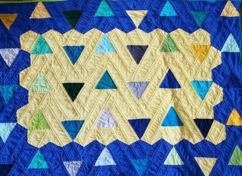 "Handmade Quilt Baby Boy Toddler Blanket Blue/Yellow Triangles Geometric 45""x32"""