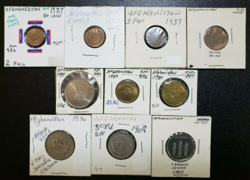 LOT OF 10 AFGHANISTAN COINS SOME SILVER PUL AFGHANI MIXED DATES 1936-1961 #LB