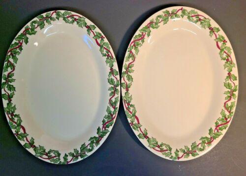 2 Roseville Spongeware Pottery Gerald Henn Christmas Holly Oval Platters Ceramic
