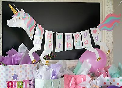 Unicorn Happy Birthday Banner Cute Decoration Theme Supplies 2018 FAST SHIPPING - Birthday Theme Supplies