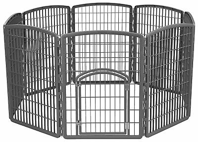 "Pet Exercise Playpen Door 34"" Dog Yard Gate Safe 8-Panel Gray Fence Enclosure"