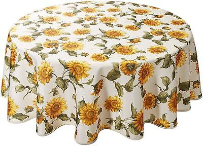 """1 Printed Fabric Tablecloth, 60"""" Round (4-6 people), EURO SUNFLOWERS by VL"""