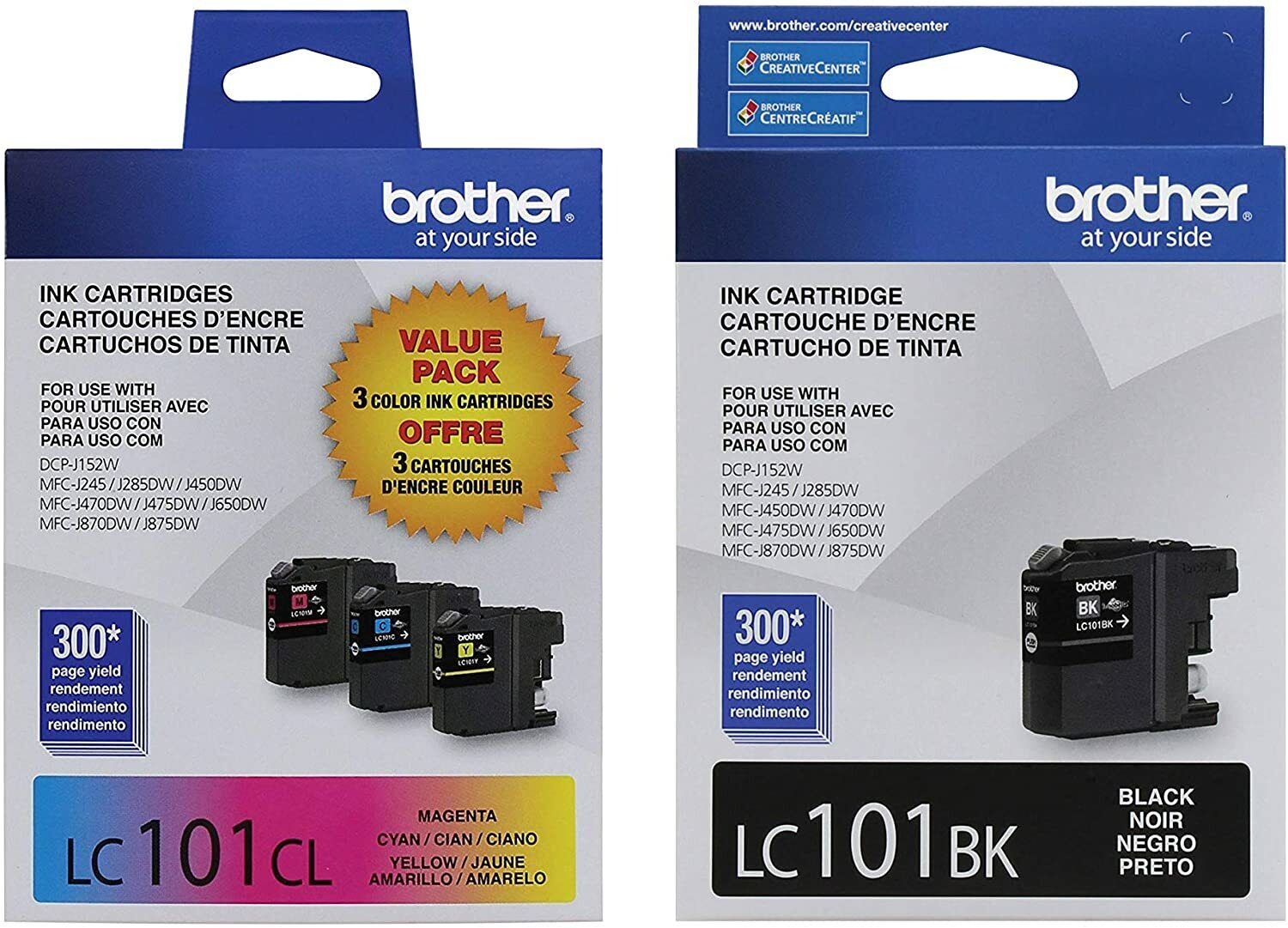 Brother Lc101 Ink Cartridges Black, Cyan, Magenta, Yellow In Retail Packaging - $36.95