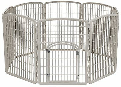 "Pet Exercise Play Pen Door 34"" Dog Yard Gate Safe 8 Panel Chrome Fence Enclosure"