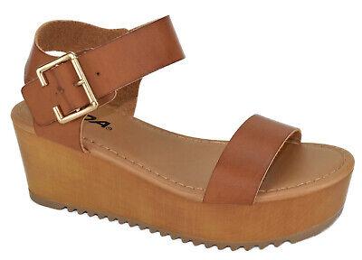 Soda Women Wedge Sandals Open Toe Flatform Ankle Buckle Strap Brown Tan AYLA-S Buckle Open Toe Sandal