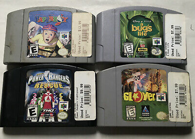 Nintendo 64 4 Game Lot Power Rangers Paperboy Glover N64-53 Authentic