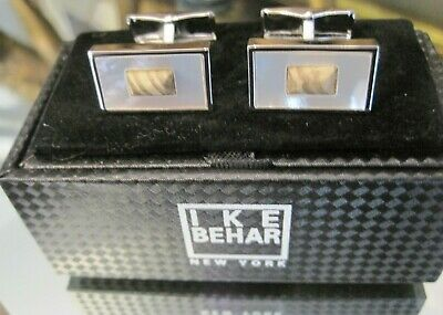 Ike Behar Mother of Pearl Rectangular Cufflinks with Center Accent Stones - Eisenhower Mother Of Pearl