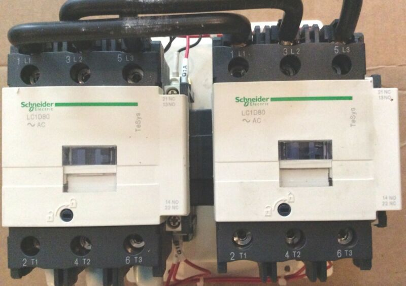 Schneider Electric Reversing Contactor.   # LC2D80. COILS ARE 100 VOLTS