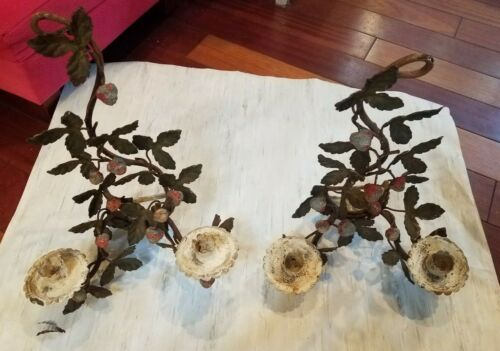 Vintage Pair Italian Tole Strawberry Plant Candle Sconces