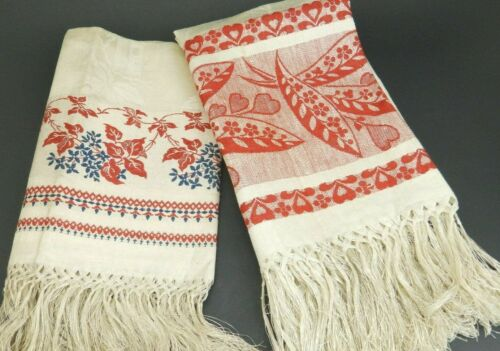 Pair Antique Turkey Red & Blue Linen Damask Kitchen Guest Hand Towels w/Fringe