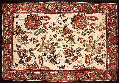 """Jaipur Block Print Cotton Table Placemat 19"""" x 13"""" Autumn Color"""