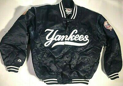 New York Yankees Majestic Satin Bomber Jacket Medium Navy Blue Vintage Authentic