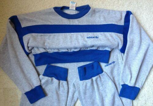 Adidas Gray/Royal Blue Sweatsuit Workout Tracksuit Fleece Jogging Set. 1990 VTG