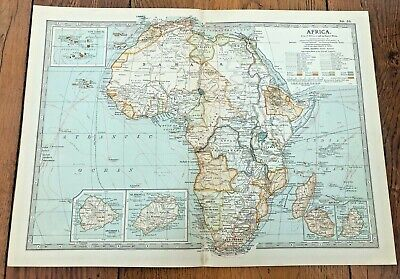 1903 large colour fold out map titled - africa  !
