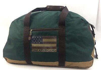 "Ciao Americano Large Duffle Bag 24x14x11"" Green Beige"