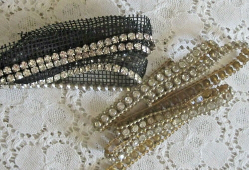 ANTIQUE VTG RHINESTONE EMBELLISHMENT BEADED TRIM EDGING GIMP SEWING