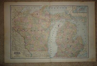 Vintage 1891 MICHIGAN - WISCONSIN MAP  Old Antique Original Atlas Map 100718