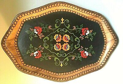 Vintage Handpainted Pyrography, Wood-Burned Wood Serving Tray