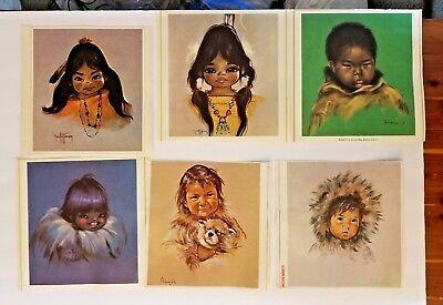 TEN Vintage 1960s Calendar Art Inuit Children Oxborough Francis Christoffersen