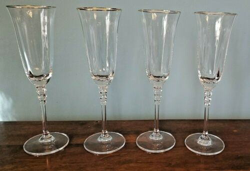 "Mikasa SONATA GOLD Crystal 9"" Champagne Flutes SET OF 4 Hand Blown Discontinued"