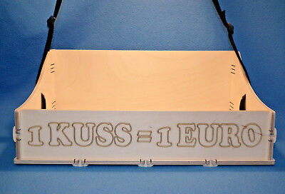 JGA Holz Bauchladen mit Beschriftung 1 Kuss 1 Euro Junggesellenabschied Hochzeit