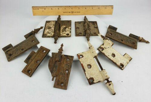 "Vintage Cast Iron Door Hinges Old Hardware Steeple Ornate Antique Victorian 4"""