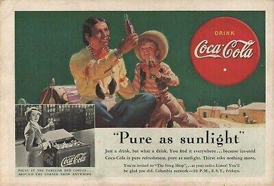 1938 Coke Coca Cola Cooler Native American & Boy Cowboy Vintage Art Print Ad