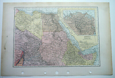 Map Of Africa  North East Egypt Nile Delta C1930 Antique