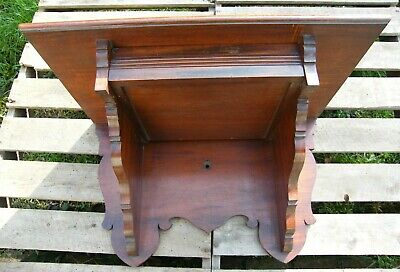 LARGE CARVED WOODEN MAHOGANY COUNTRY HOUSE WALL CLOCK BRACKET WITH DRAWER