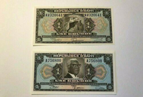 HAITI 1 Gourde Banknote 1919 UNC *Crisp* (Lot of 2) Currency Note