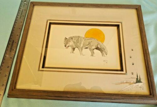 """1987 WILLIAM T. ZIVIC """"WOLF MOON"""" WATER COLOR Painting Signed & Matted & Framed"""