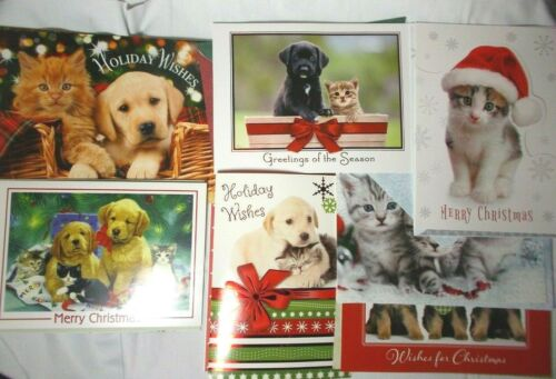 Lot of 7 Assorted Christmas Greeting Cards Cats & Dogs SPCA SPCAI