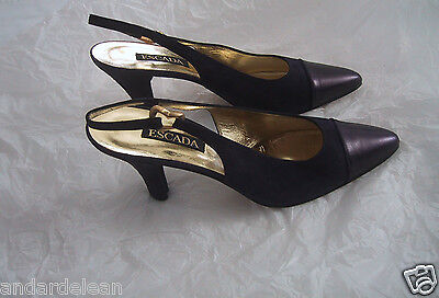 Womens Escada Heels Pumps Shoes Size 9 AA Narrow Back Strap Purple -