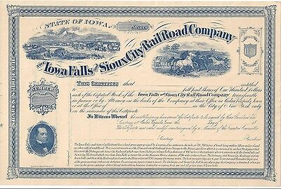 IOWA FALLS AND SIOUX CITY RAILROAD COMPANY....1800'S UNISSUED STOCK CERTIFICATE](1800 Party City)