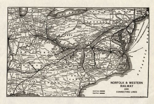 1934 Antique NORFOLK and WESTERN Railway Map Vintage Railroad Map 8023