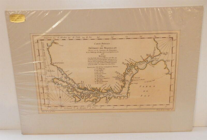 Antique 1753 Matted Map Straits of Magellan Carte Reduite Du Detroit de Magellan
