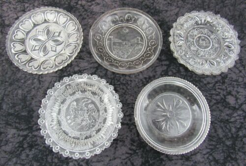 (5) Assorted Antique EAPG Lee Rose Pressed Lacy Flint Glass Cup Plates Lot #3