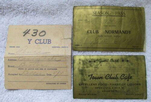 3 Bar Night Club Alcohol Liquor Speak Easy Pass Guest Cards Paper Ephemera