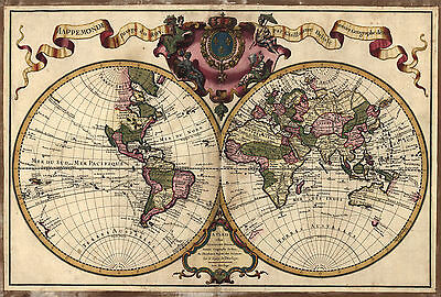1720 Map of the WORLD, Earth, antique Print, Europe, America, Asia 20