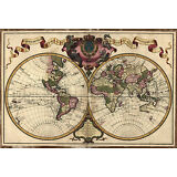 """1720 Map of the WORLD, Earth, antique Print, Europe, America, Asia 20""""x14"""""""