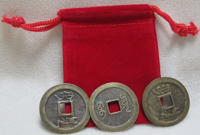 Two Feng Shui Red Pouches with Six Lucky Chinese Coins for Prosperity and Wealth