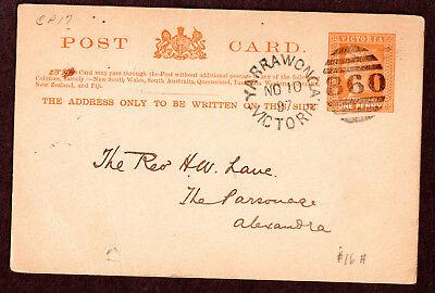 Australia 16a QV 1d Yarrawonga  Alexandra  Post Card,