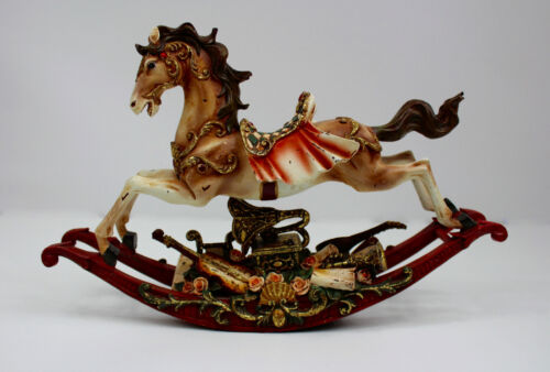CHRISTMAS HOLIDAY MOTION & MUSICAL ROCKING HORSE FIGURINE OLD DISTRESSED WINDUP