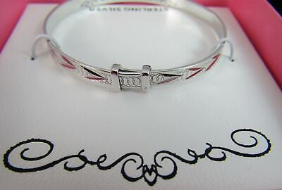 Macy's Lily NIly Childrens Diamond Cut Pattern Sterling Silver Bangle NEW MKS01