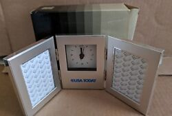 USA TODAY Hinged Shelf Clock with Photo Frames in Original Packaging